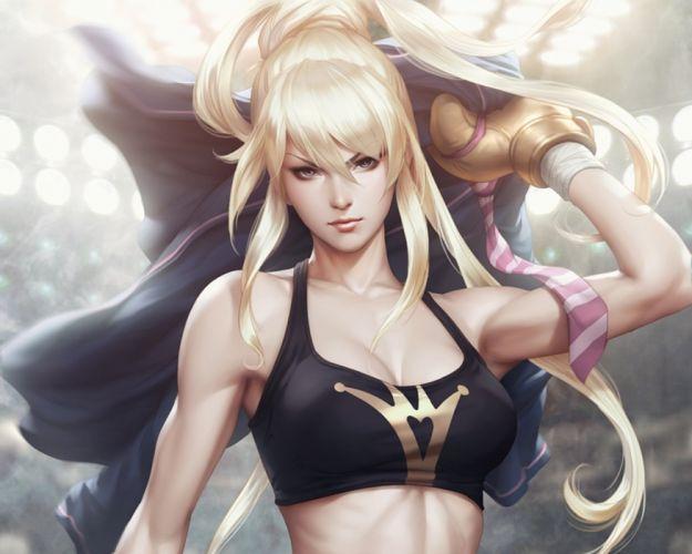 boxer blonde fantasy girl character beautiful long hair woman wallpaper