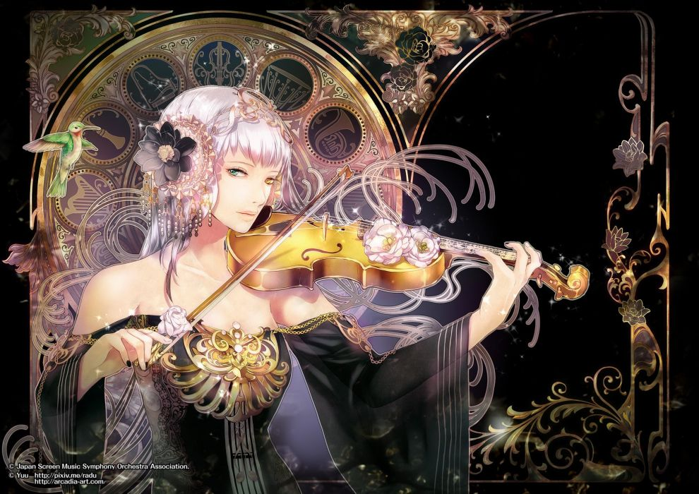 violin fantasy girl character beautiful long hair woman wallpaper