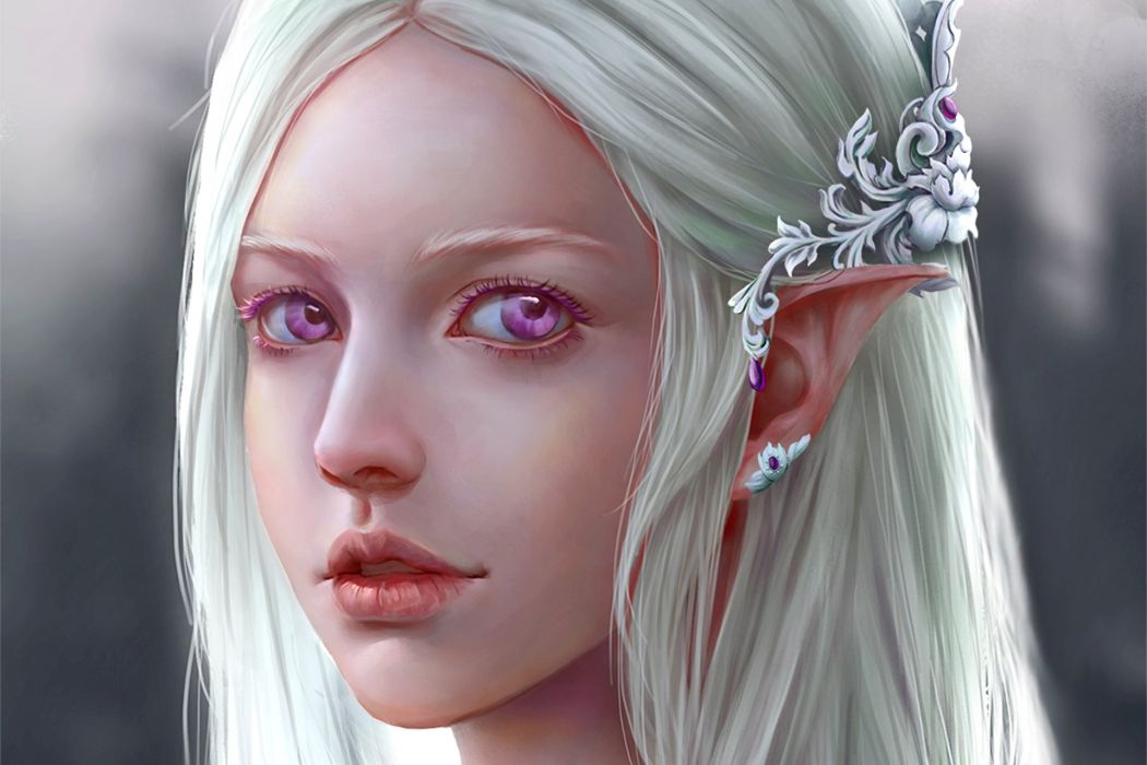 fantasy girl character beautiful long hair woman Silver-Elf wallpaper