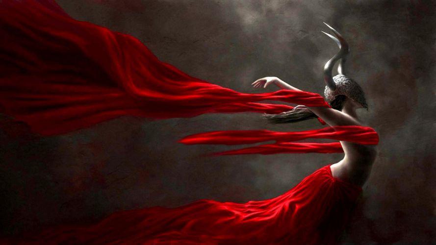 red dress fantasy girl character beautiful long hair woman wallpaper