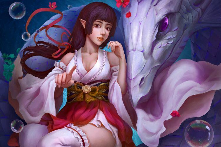 fantasy girl character beautiful long hair woman monster wallpaper