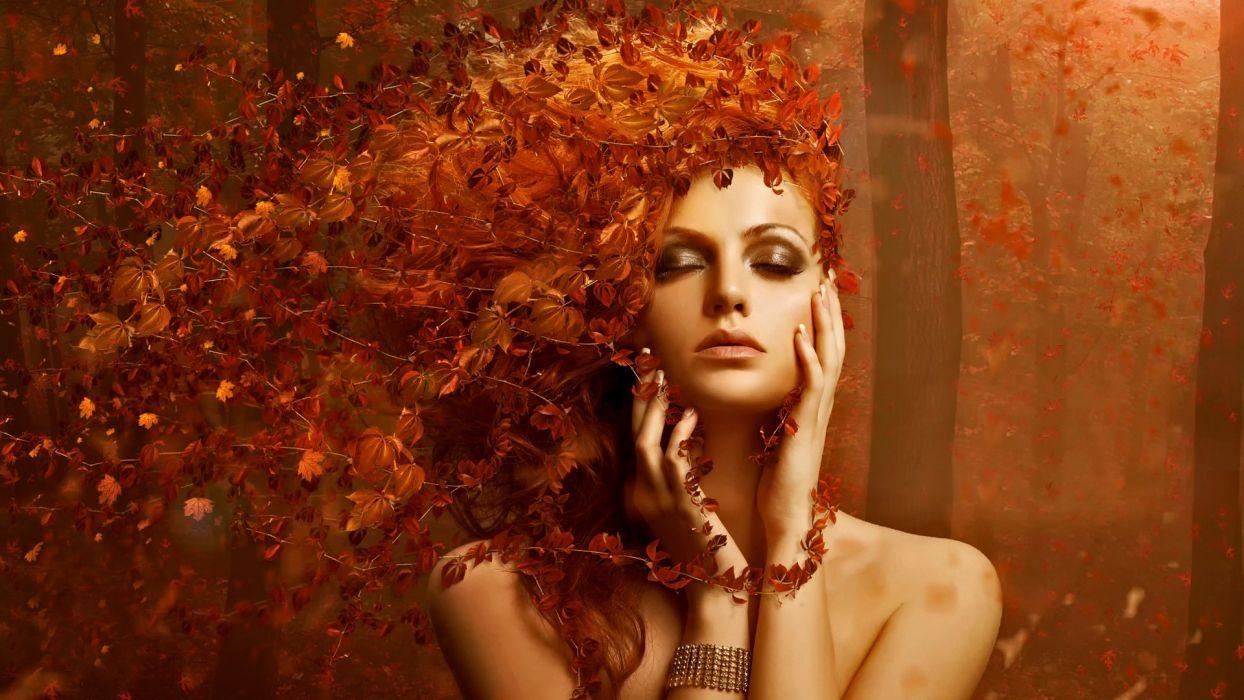 female curly red hair long beautiful girl wallpaper