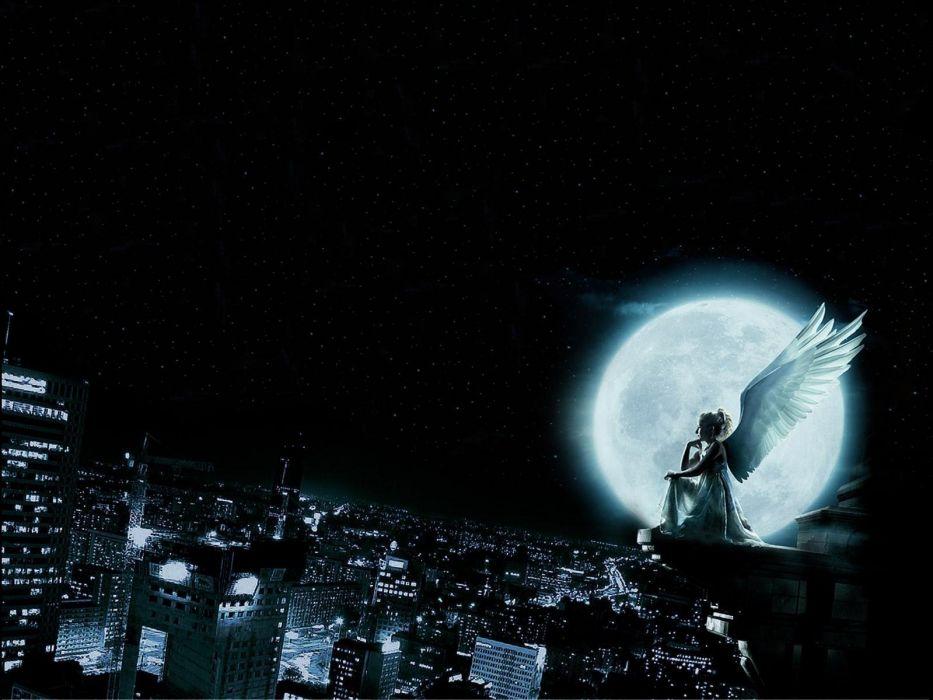 city angel moon girl wing beautiful long hair woman wallpaper