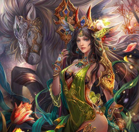 fantasy girl character beautiful long hair woman horse wallpaper