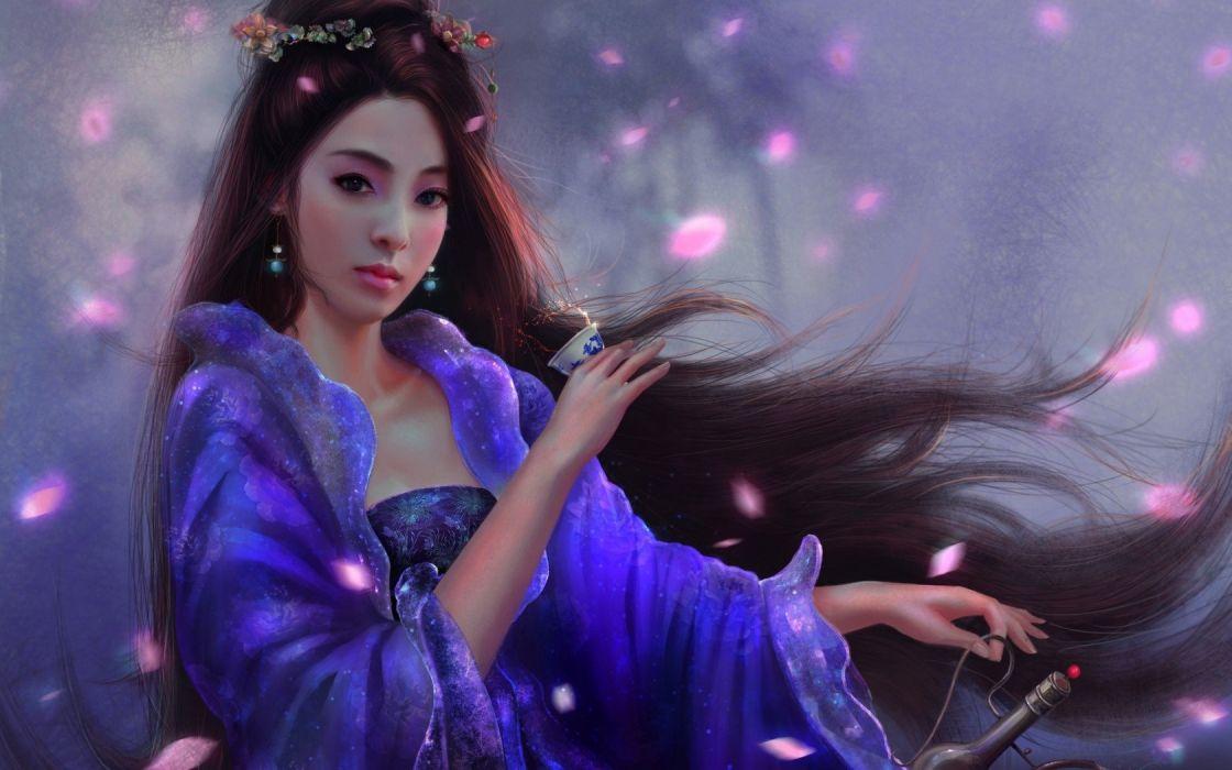 fantasy girl character beautiful long hair woman wallpaper