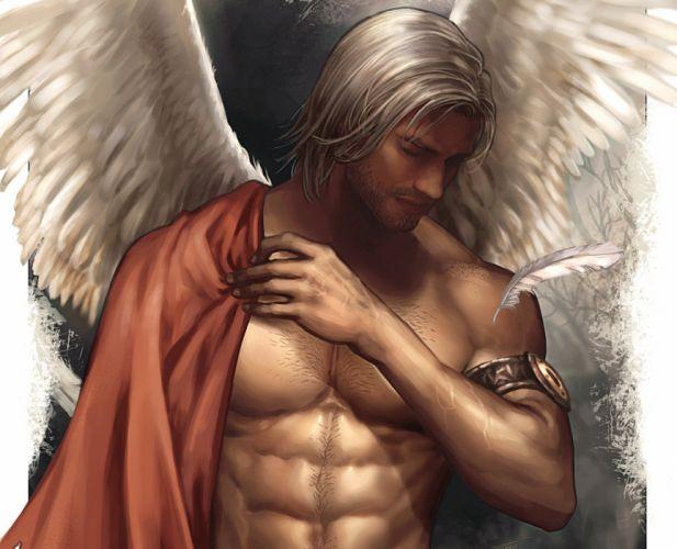 fantasy male angel wings character beautiful wallpaper