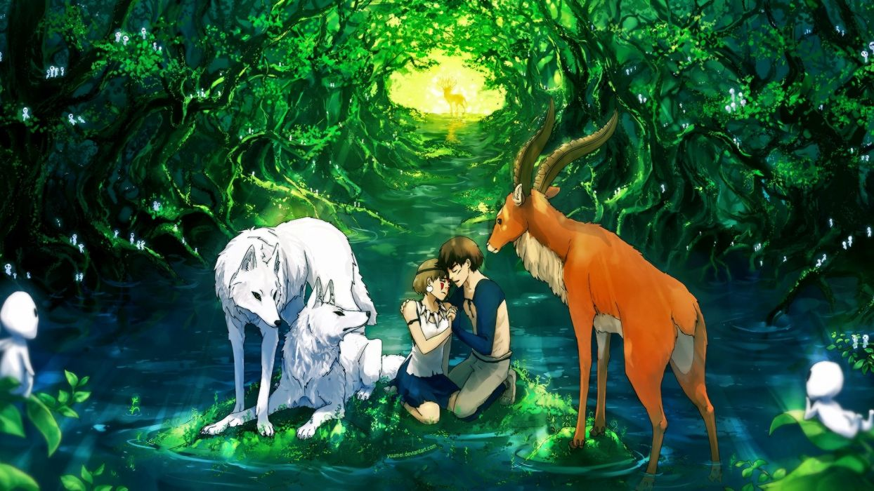 Anime girl character beautiful animal forest deer couple wallpaper