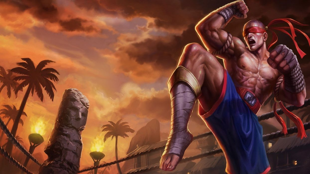 fantasy male fight sunset character lee-sin wallpaper