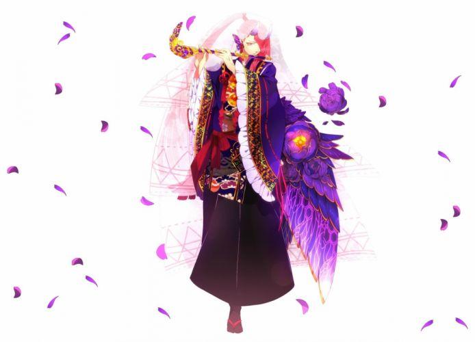 anime angel flower girl character beautiful long hair woman wallpaper