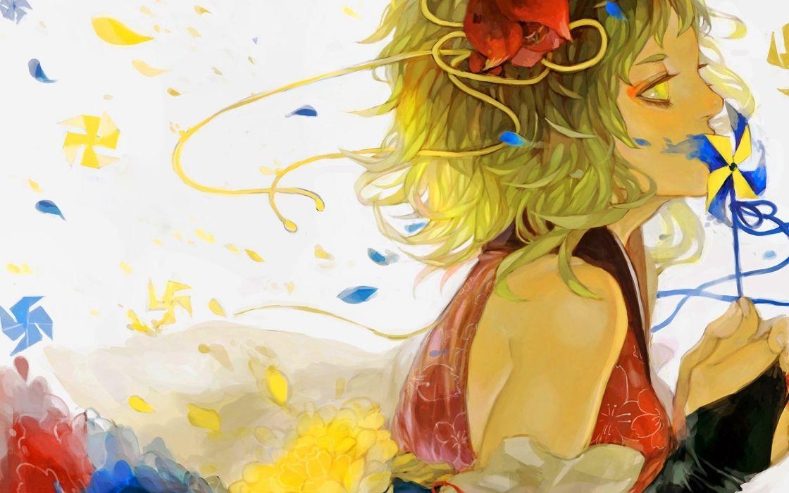 anime flower girl character beautiful short hair woman wallpaper