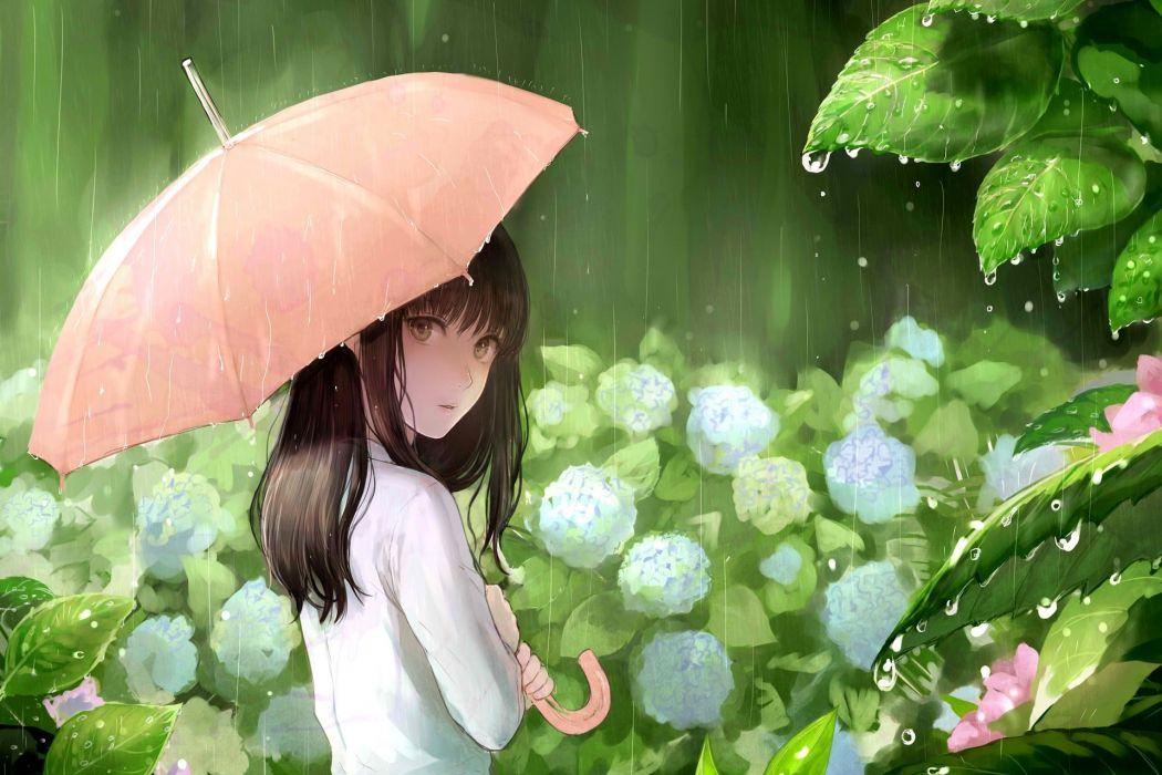 anime girl umbrella flower pretty cute Spring Rain wallpaper