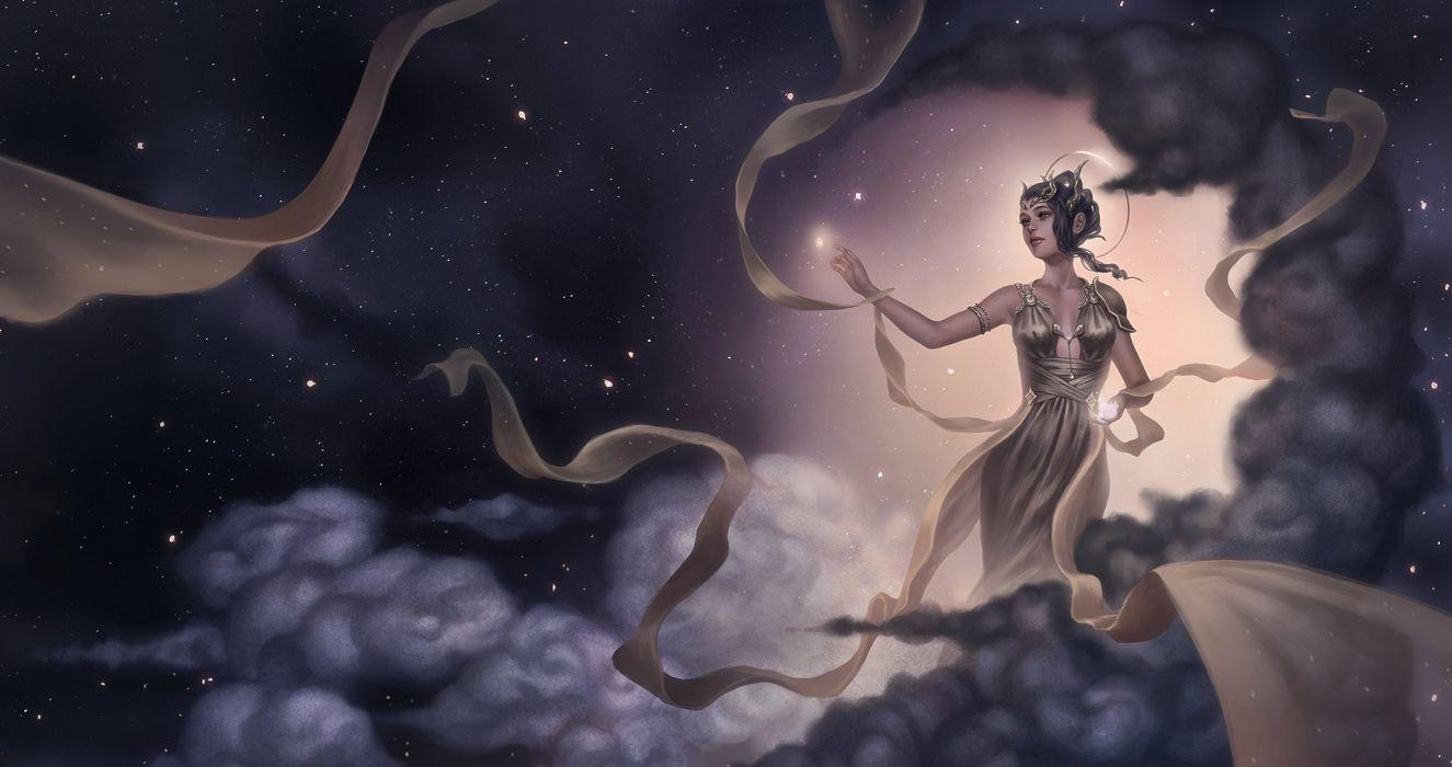 touching stars fantasy girl character beautiful long hair woman wallpaper