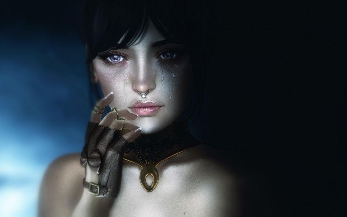 fantasy girl character beautiful cry pretty woman wallpaper