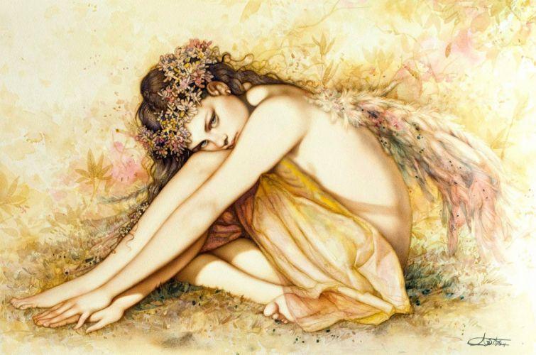 fairy cute pretty fantasy girl character beautiful long hair woman wallpaper