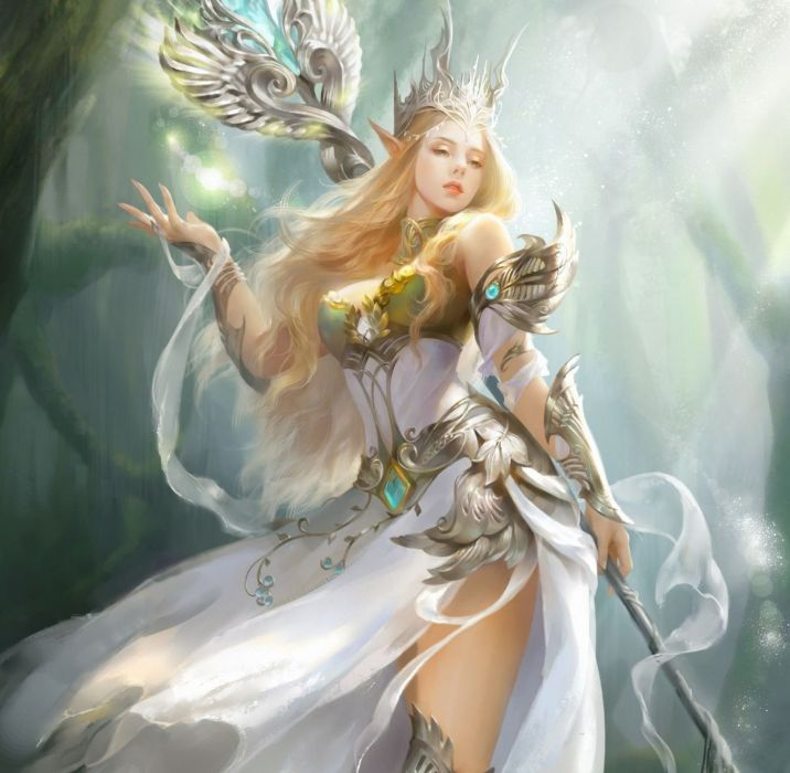 fantasy girl character beautiful long hair woman wallpaper
