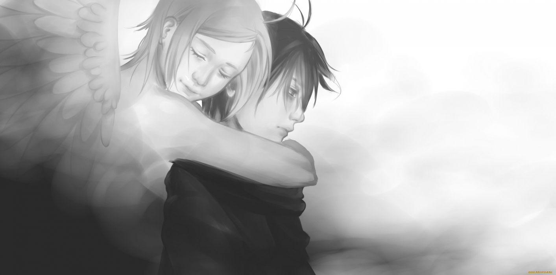 cute anime fantasy couple wing angel boy girl wallpaper