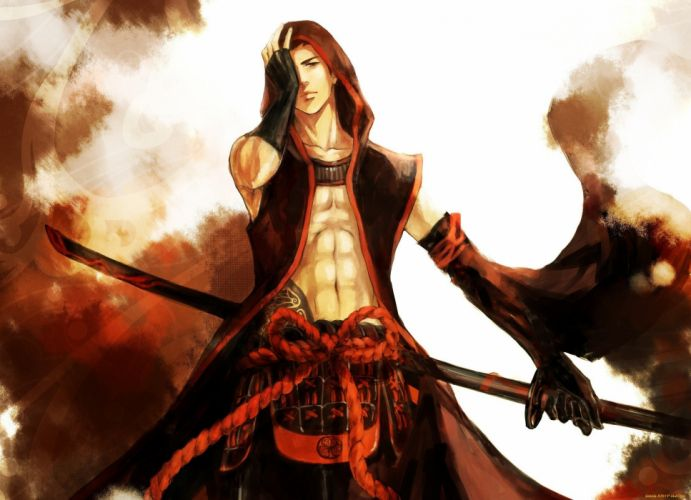anime character male sword warrior red wallpaper