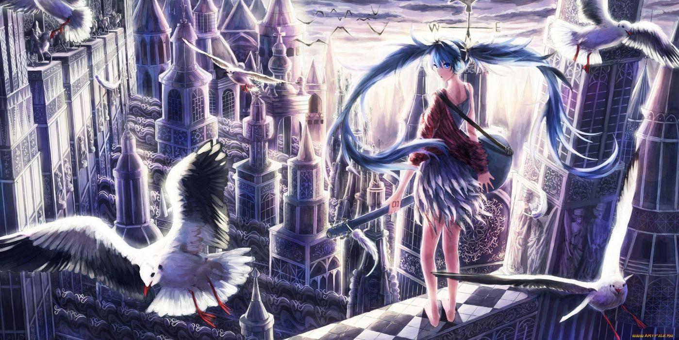 anime girl cute long hair city wallpaper