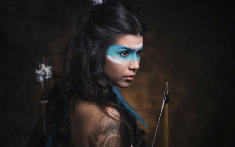 makeup long hair girl woman Indians bow arrow wallpaper