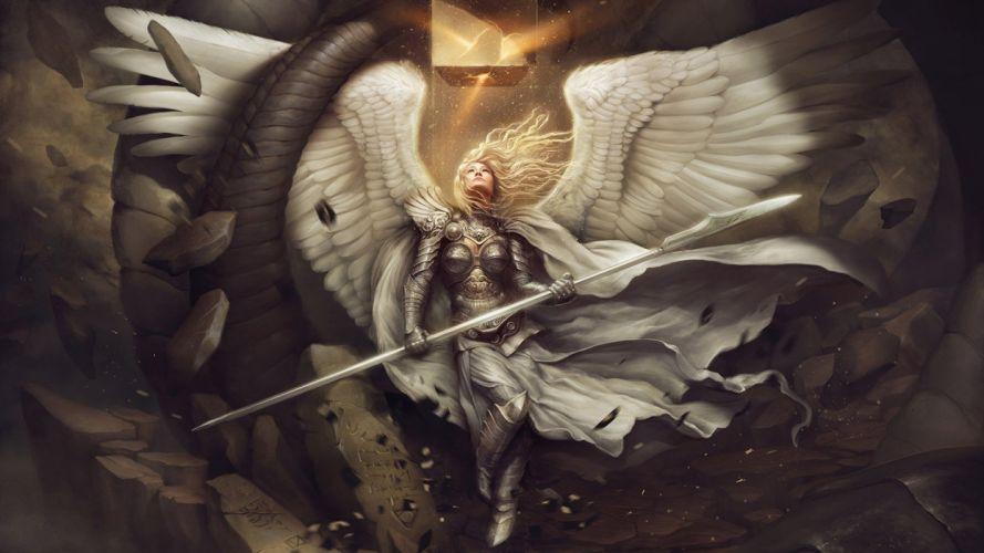 art fantasy woman angel blonde long hair wing wallpaper