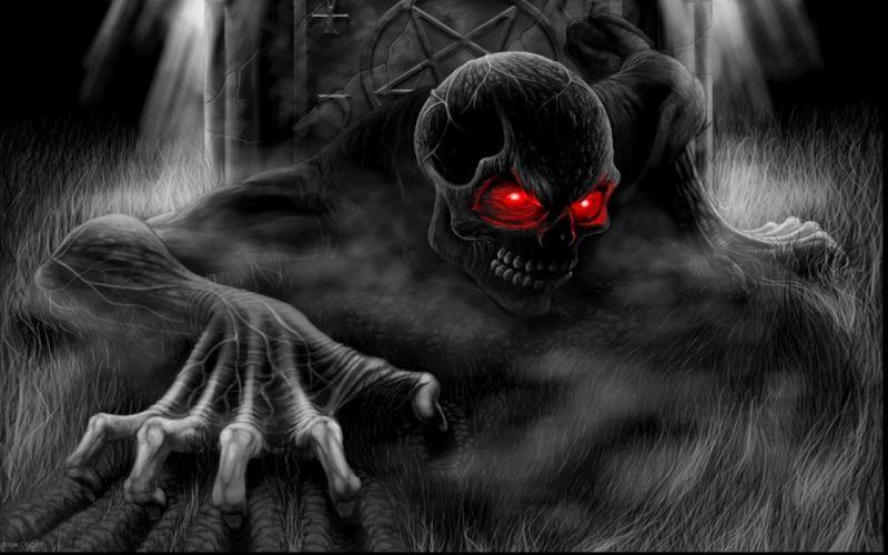 Cool Skulls 3D Red Eyes wallpaper