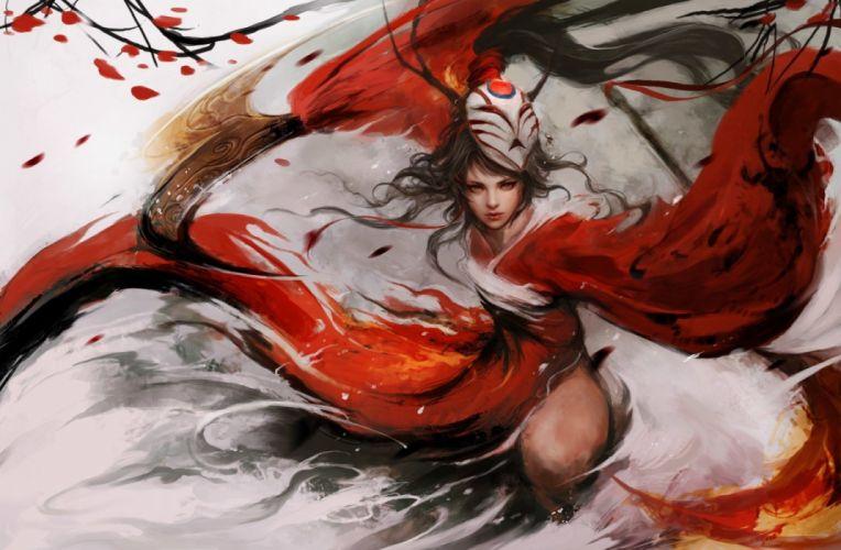fantasy girl character beautiful long hair woman warrior wallpaper