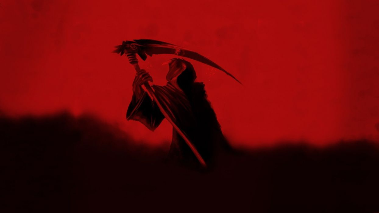 Grim Reaper fantasy red wallpaper
