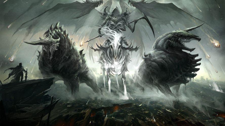 Rider a demon the hero the ruins fantasy wallpaper