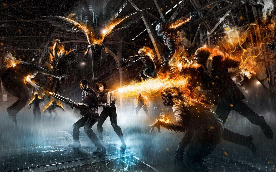 Zombie attack fantasy fire weapon wallpaper