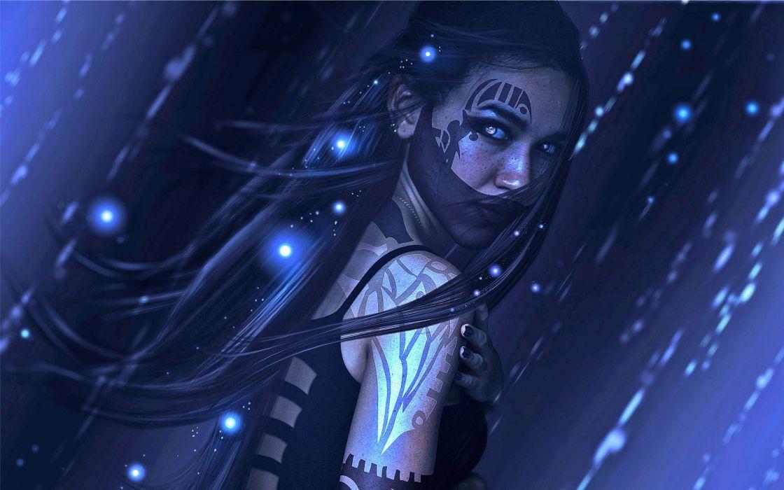 fantasy girl character beautiful long hair woman vampire magic dark  wallpaper