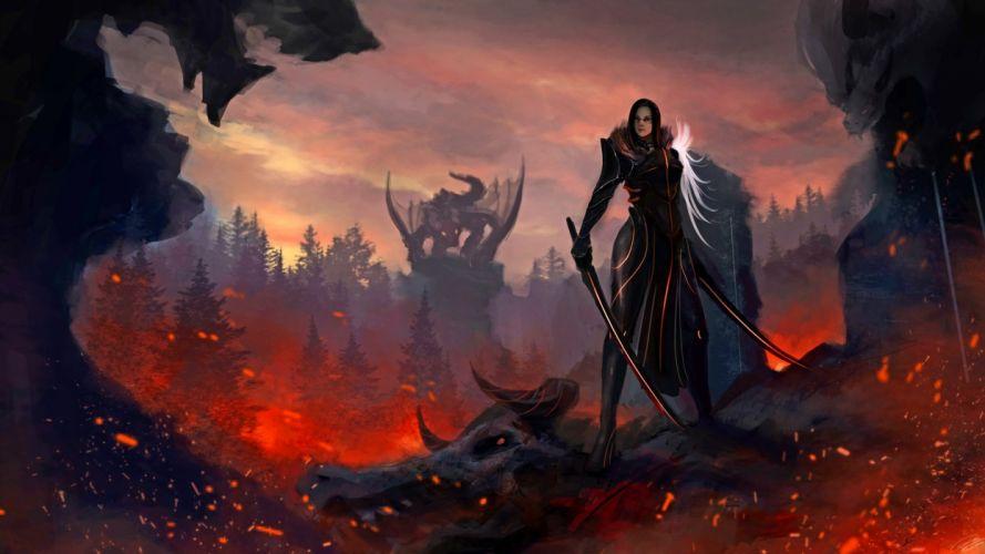 women fantasy dragon sword Fantasy-Gamer wallpaper