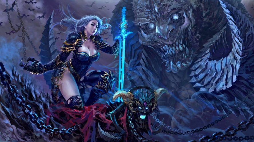 women magic dark sword fantasy girl character beautiful long hair wallpaper