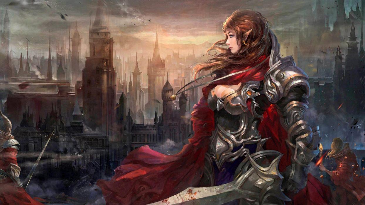 fantasy girl character beautiful long hair woman warrior elf Once-a-Sanctuary wallpaper