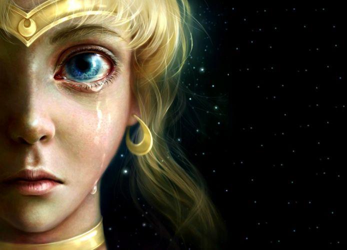 luna blonde fantasy luminos manga girl sailor moon moon night art face princess serenity anime blue eye sky realistic uminos stars tear wallpaper