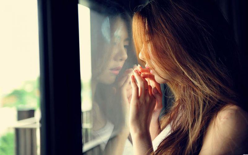woman female long hair beautiful girl sad alone wallpaper