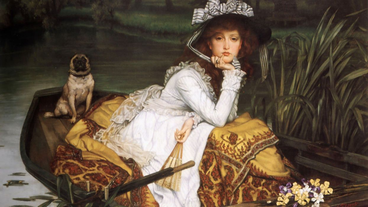 The painting girl dog boat view art oil beauty wallpaper