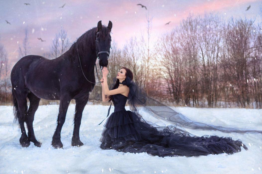 woman female long hair beautiful girl dress horse beauty wallpaper