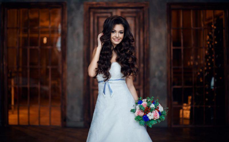 woman female long hair beautiful girl bridal wedding dress smile wallpaper