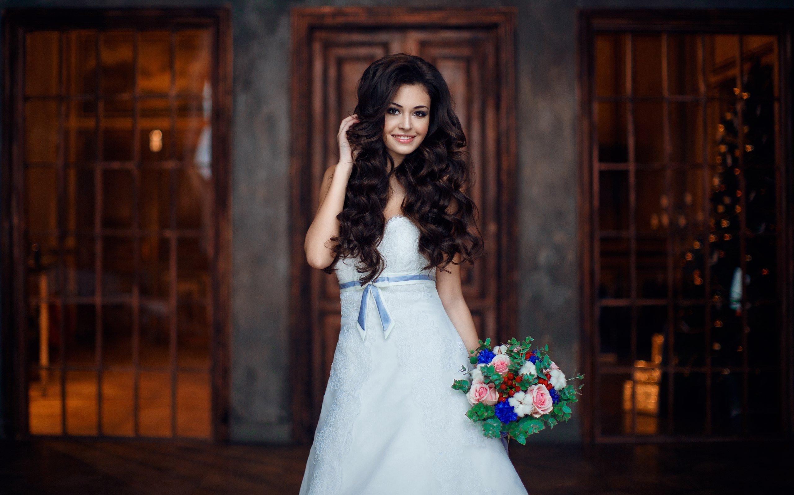 Woman Female Long Hair Beautiful Girl Bridal Wedding Dress Smile Wallpaper 2560x1596 913377 Wallpaperup: Wedding Dress With Long Hair At Reisefeber.org
