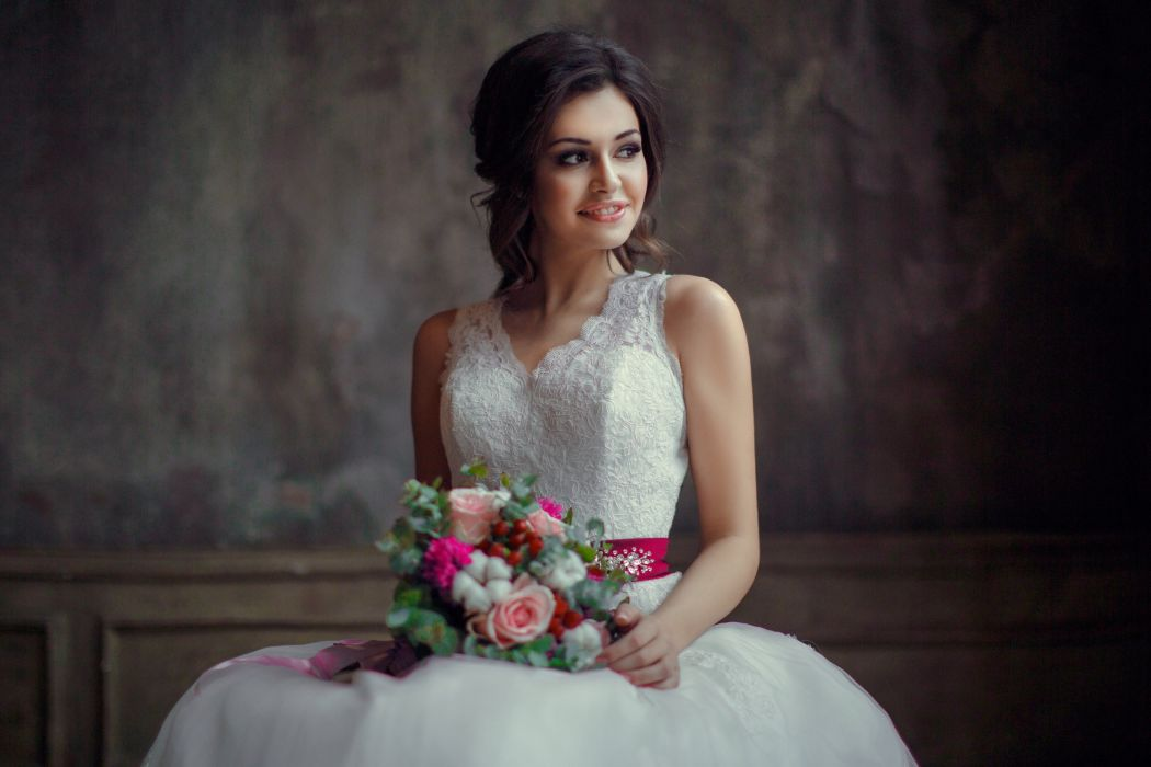 woman female long hair beautiful girl bridal wedding dress flower wallpaper