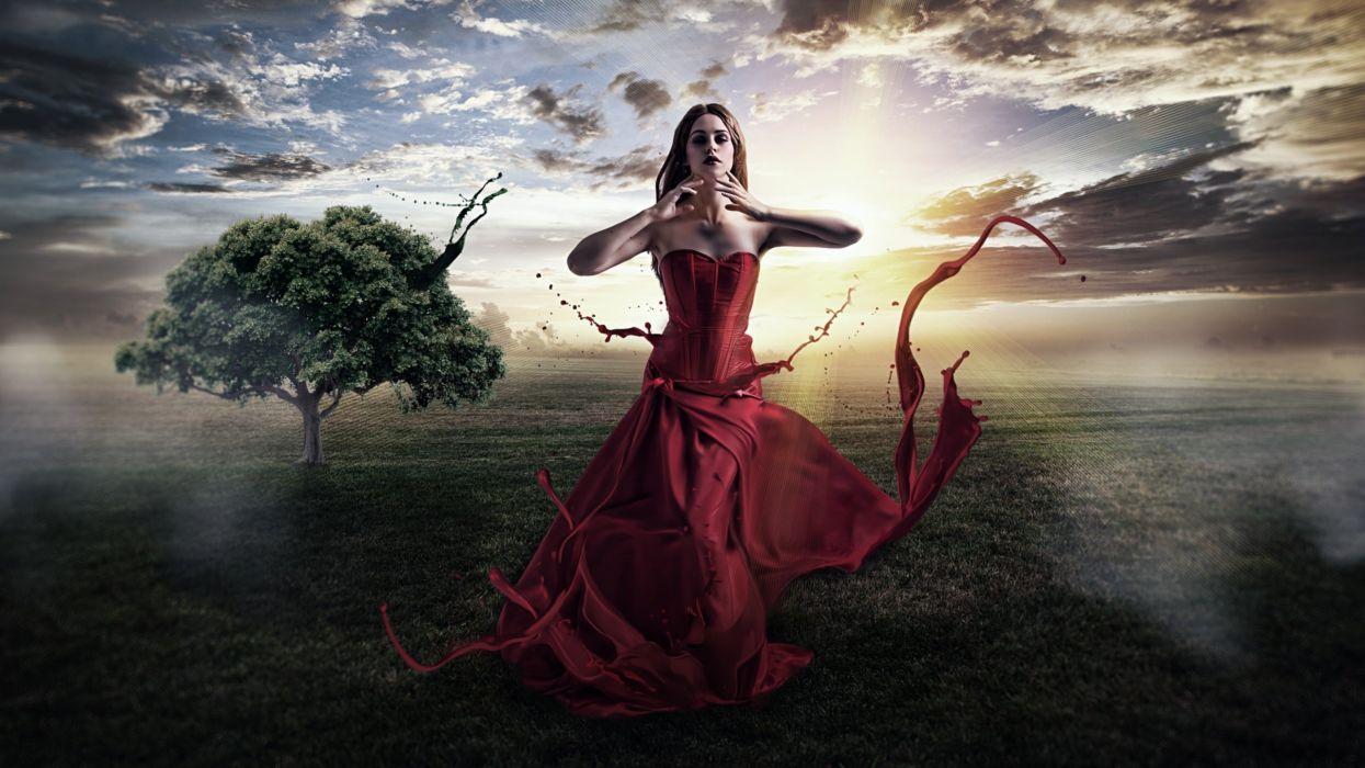 woman female long hair beautiful girl red dress art wallpaper