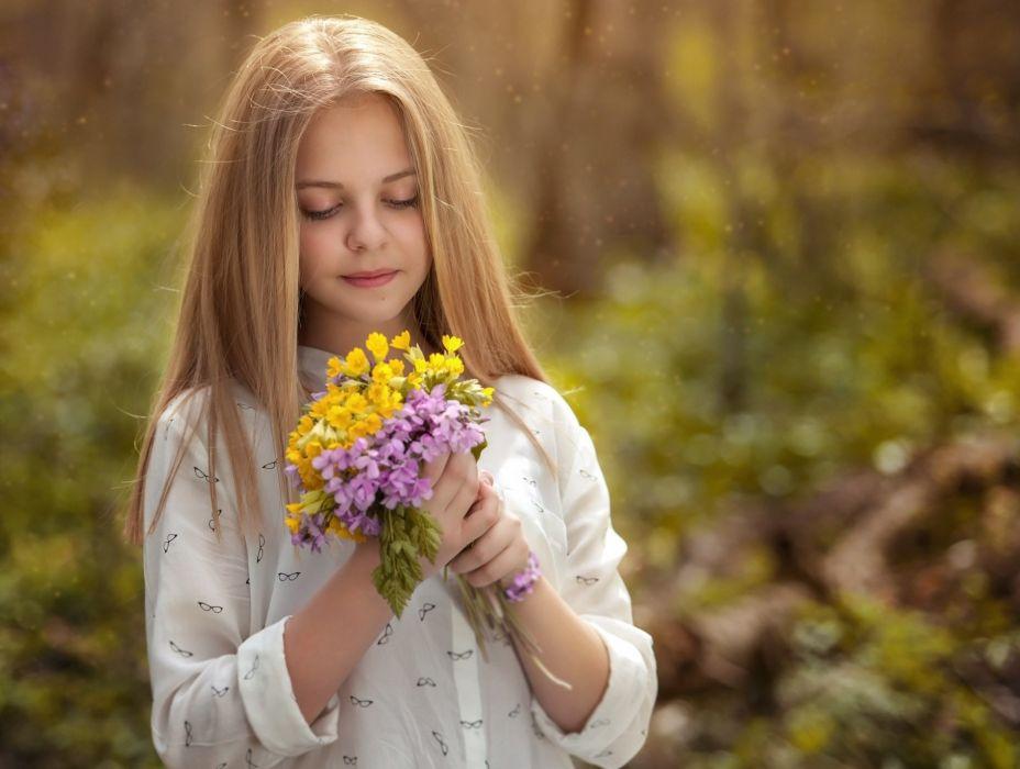 blonde flower kid long hair beautiful girl wallpaper