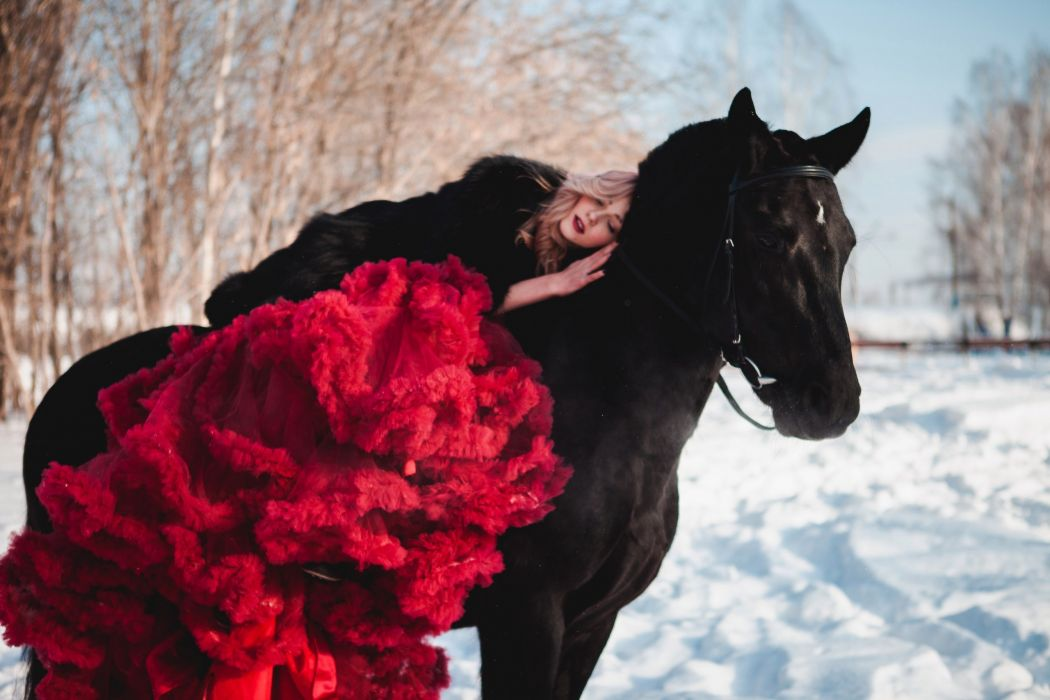 woman female long hair beautiful girl horse beauty red dress wallpaper
