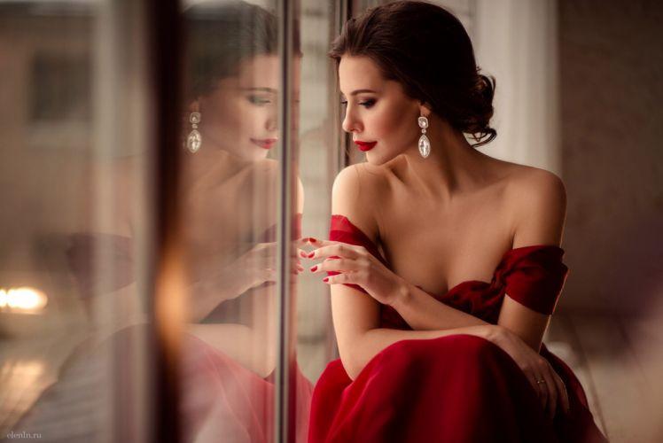 woman female long hair beautiful girl red dress wallpaper