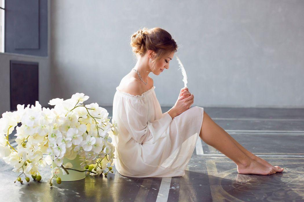 woman female long hair beautiful girl flower wallpaper