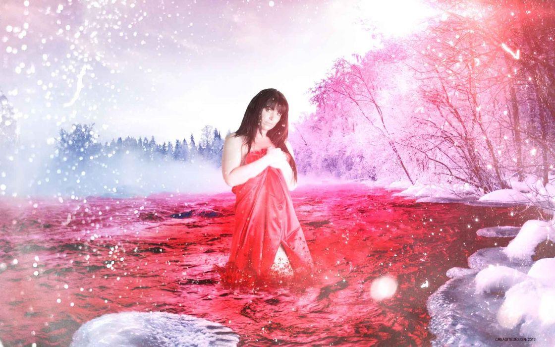 BLOOD River dark manipulation photoshop selective coloring nature landscape river psychedelic horror red fantasy vampire wallpaper