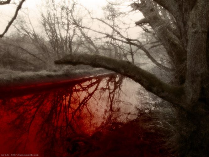 BLOOD River dark manipulation photoshop selective coloring nature landscape river psychedelic horror red wallpaper
