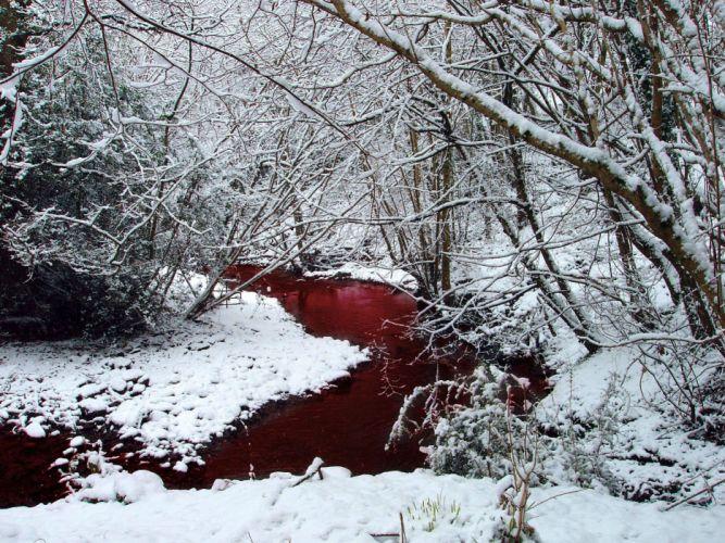 BLOOD River dark manipulation photoshop selective coloring nature landscape river psychedelic horror red wallpaper