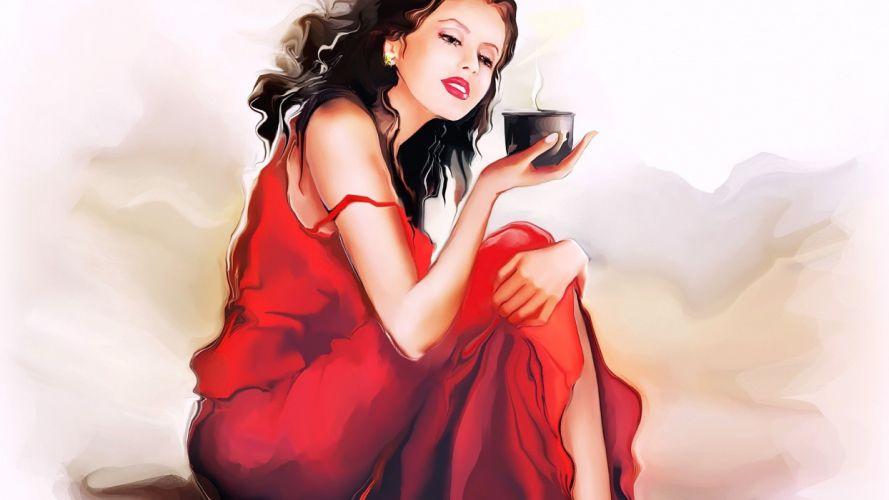 chica anime manga vestido rojo wallpaper