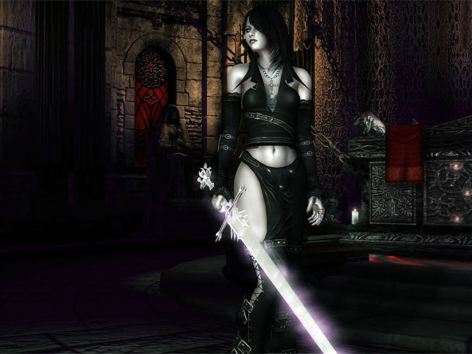 ELDER SCROLLS fantasy action rpg skyrim fighting warrior artwork dragon sexy babe wallpaper